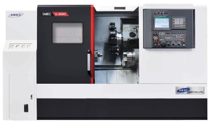 Tour usinage CNC horizontal bi broches et outils motorises SMEC SL-2000-2500MS